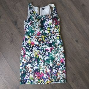 Ann taylor floral fitted dress